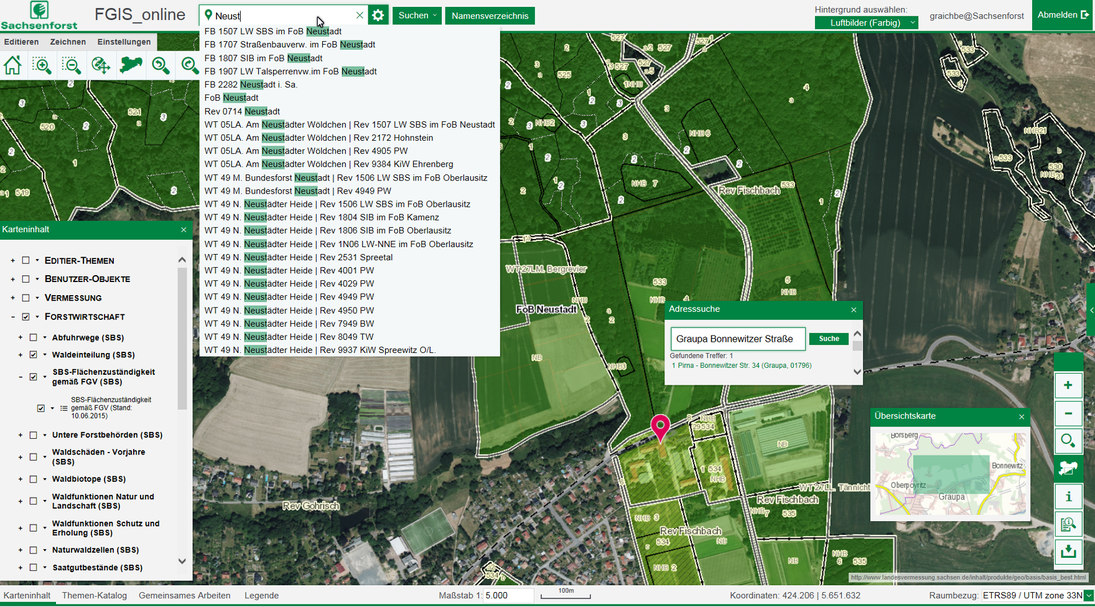 Screenshot von FGIS-Online
