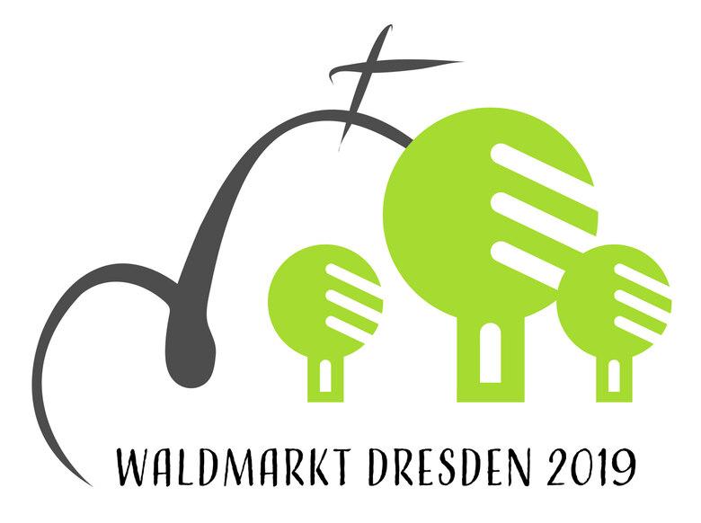 Logo des Waldmarktes 2019 mit grafischen Baumsymbolen und einer angedeuteten Kirche